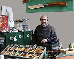Jacques Opinel, in the shop at the Opinel Museum in Saint Jean de Maurienne